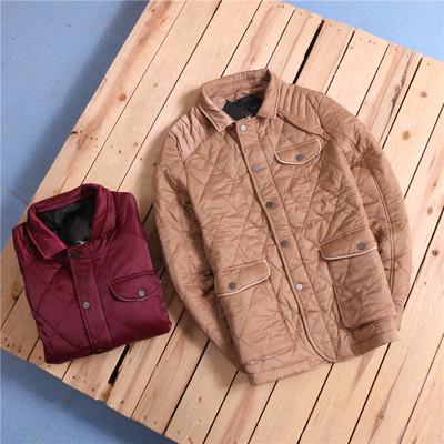 时尚菱格纹修身翻领夹棉保暖夹克外套D1-W65
