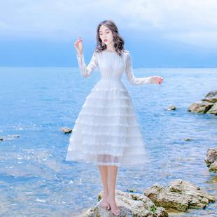 春秋甜美淑女木耳花边蛋糕连衣裙气质修身高腰长袖旅游度假裙A字