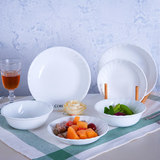 Us Corning CORELLE imports pure white threaded European plate dish set heat-resistant glass 2 pieces