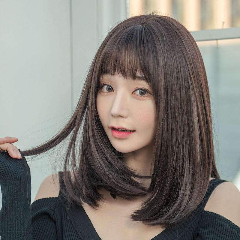 假发女短发长直发逼真自然中长发全头套式长发网红辛芷蕾锁骨发