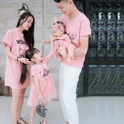 亲子装夏装新款一家三口全家装母子母女婴幼儿家庭装连衣裙t恤