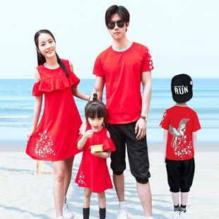 纯棉连衣裙四口 母女装 夏季婴幼儿全家庭装 2019新款 一家三口亲子装