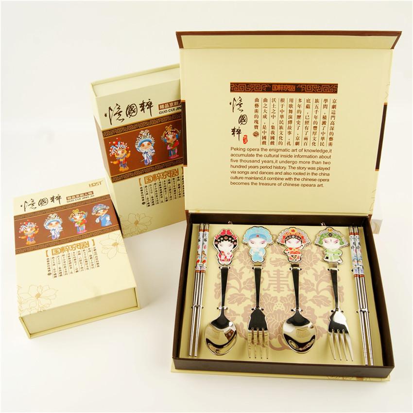 京剧脸谱餐具套装 筷勺叉子三件套中国风特色出国商务礼品 印logo