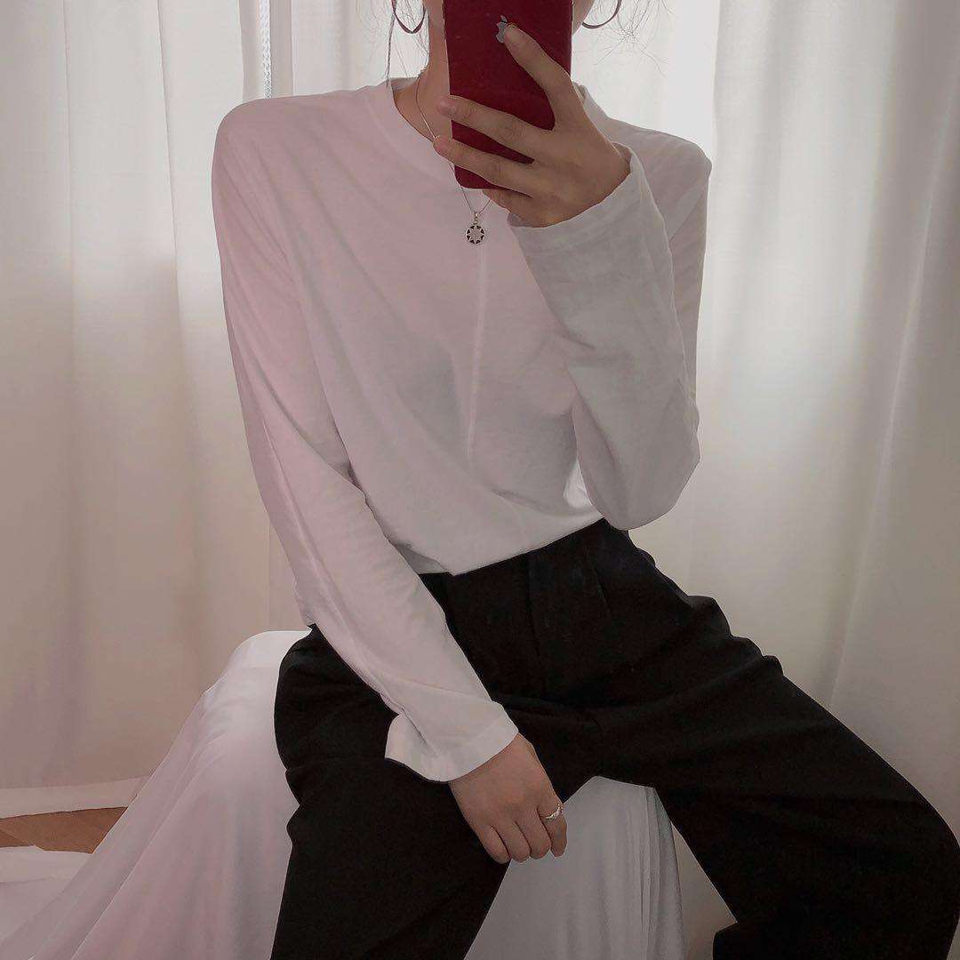韩国东大门代购春装19新款简约纯色宽松百搭慵懒长袖T恤正品包邮