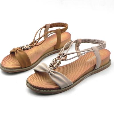 展风凉鞋女2019夏季新款民族风坡跟舒适简约波密西亚沙滩女鞋7663