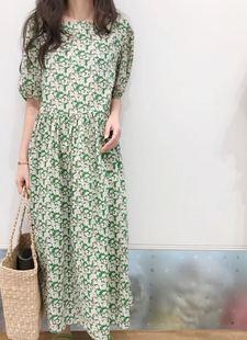 韩国代购 长款 夏季ins法式复古绿色碎花泡袖 宽松连衣裙 飞鸟集