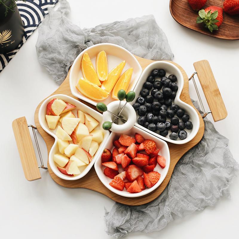 创意陶瓷水果拼盘 现代客厅水果盘甜点盘干果盘点心盘分格糖果盘
