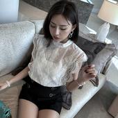 立领上衣潮 超仙 学生无袖 女小飞袖 洋气韩版 镂空蕾丝衫 超火cec短袖