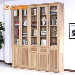 北欧篱笆榆木实木书柜书架组合格子柜书柜定做书柜书架 现代简约