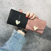 2018新款韩版钱包女短款ins潮桃心搭扣复古迷你软皮夹卡包零钱包