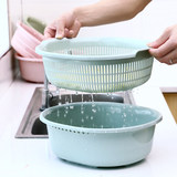 Double-layer wash basin household water basin kitchen supplies plastic fruit basket large leaching basket wash basket leak
