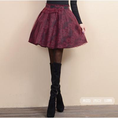 烟花XW2016秋装新款女装气质百搭欧根纱拼接半身裙短裙 花繁