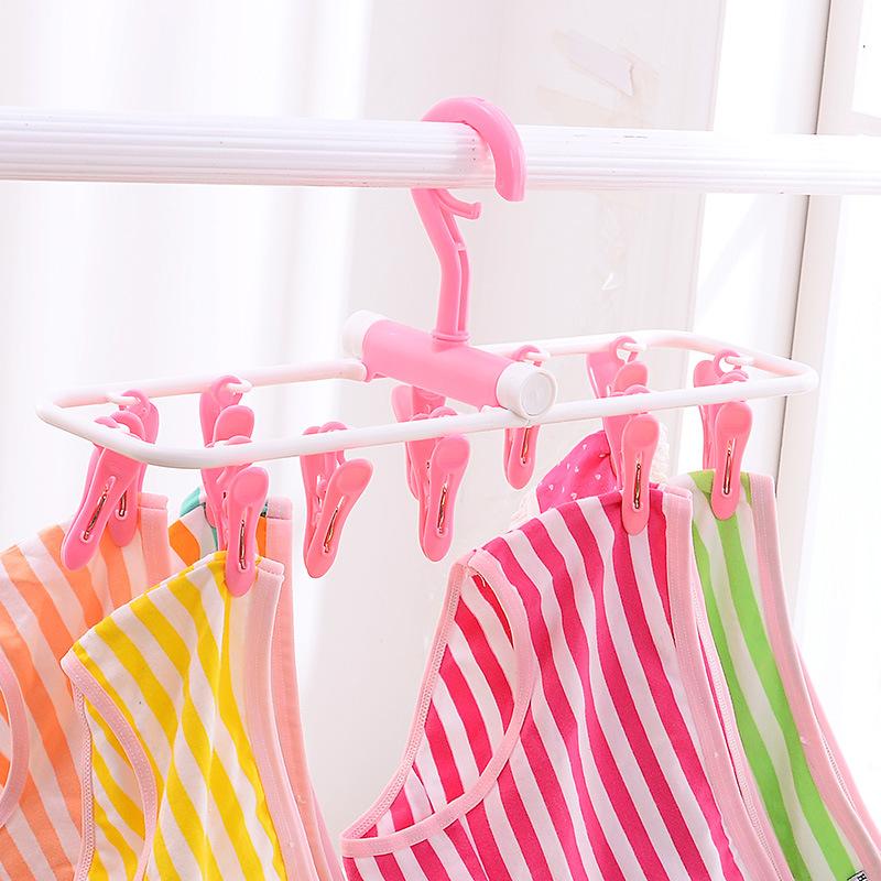 可折叠式晾衣架家用学生宿舍室内折叠凉挂衣架多夹子晾衣架包邮