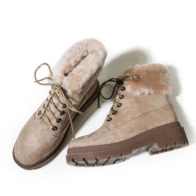清仓价 翻毛棉靴磨砂加绒短靴保暖加厚粗跟马丁靴厚底毛毛雪地靴