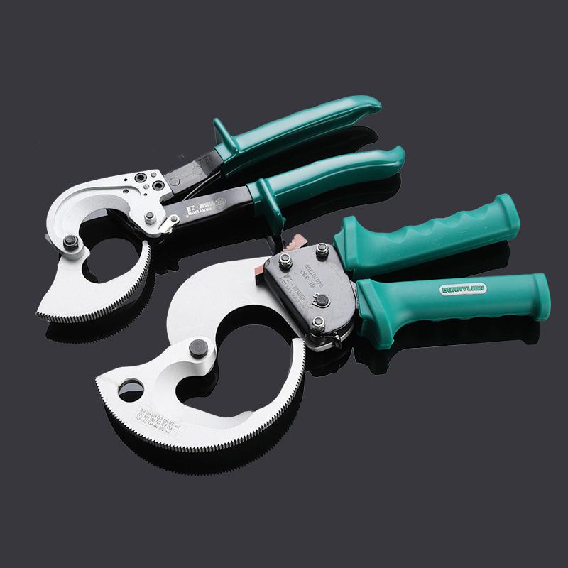 百威狮 棘轮电缆剪 铜铝线缆剪断线钳机械式电线剪刀剪线钳子包邮