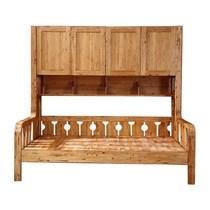 全柏木实木原木田园风免漆环保多功能可储物带书柜儿童床12木蜡油
