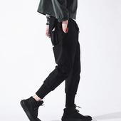 潮牌口袋工装裤男宽松余文乐小脚哈伦裤缩口嘻哈裤束脚裤休闲裤子