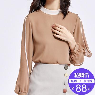 【新品价88元】2018秋季长袖遮肚子雪纺衫小衫女复古温柔风上衣女