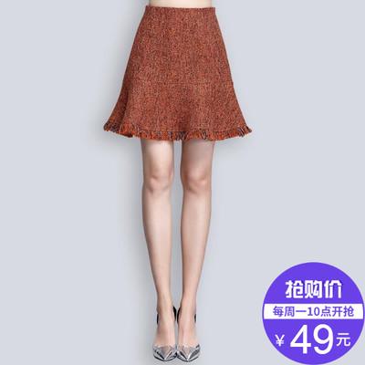 【49元】清仓特价毛呢半身裙冬季新款女装毛边A字裙伞裙短裙气质
