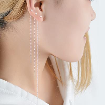925纯银耳线 女流苏小耳坠耳环短长款耳链韩国时尚气质简约耳钉