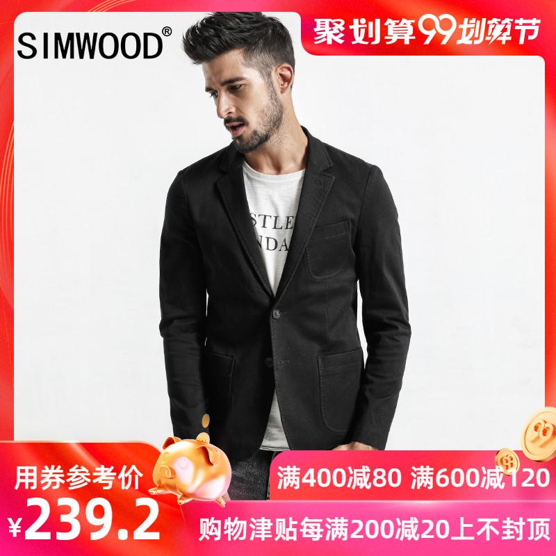 Simwood简木男装秋季新款微弹修身休闲西装男士西服小西装男外套