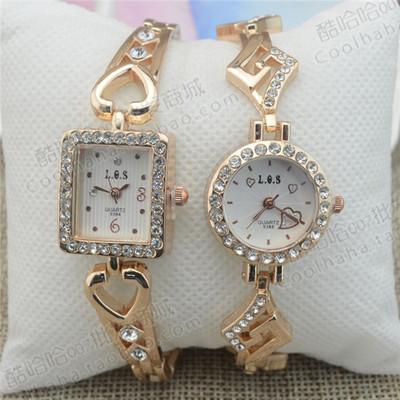 镂空韩版方形镶钻女士手表女学生石英时装表时尚潮流手链表圆形金是什么牌子