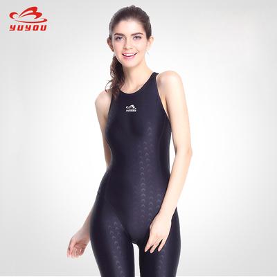 品牌专业运动连体平角游泳衣女保守显瘦遮肚加大码短袖速干五分款