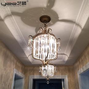 美式乡村吸顶吊灯北欧式水晶灯简约走廊过道餐厅门厅复古水晶灯饰