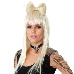 活动表演Gaga同款白色蝴蝶结假发长直发 时尚流行欧美热销假发