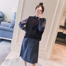 孕妇装2019春装新款韩版不规则翻领衬衣马甲时尚孕妇连衣裙两件套
