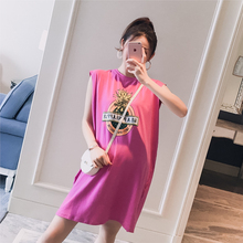 Pregnant women's wear 2009 summer dress new Korean round-collar letters printed fashion loose sleeveless T-shirt waistcoat trend for pregnant women