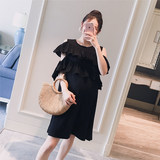 Pregnant women's suit 2019 summer dress new Korean version of wooden ear with shoulder-bare fashion loose and sweet pregnant women's hot mother dress