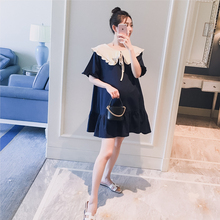 Pregnant women's dress 2019 summer dress new Korean version doll collar stitching collision color fish tail fashion loose pregnant women's dress