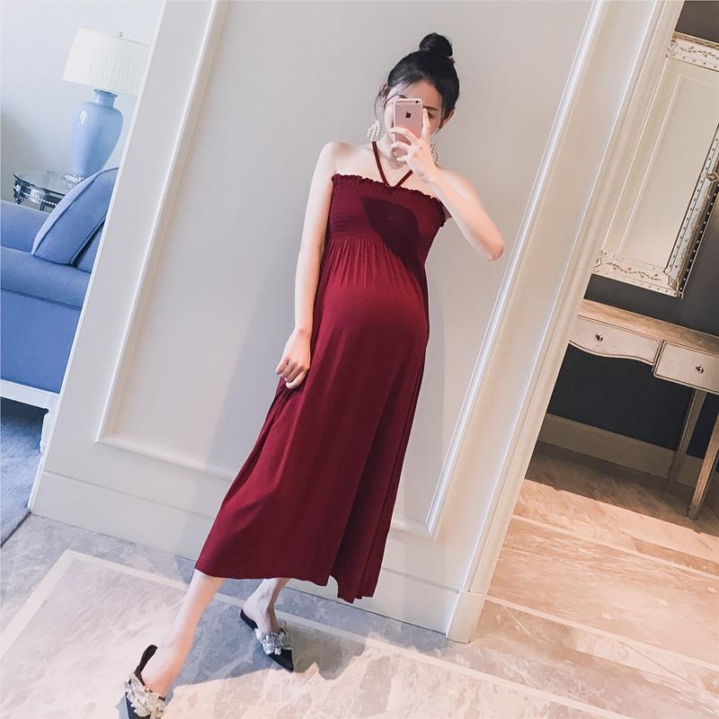 孕妇装2019夏装新款韩版纯色挂脖抹胸弹力时尚孕妇辣妈长款连衣裙