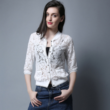New hollowed-out sunscreen lace jacket for summer thin jacket in spring and autumn with cardigan and short baseball suit