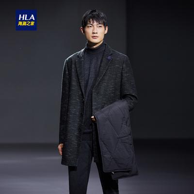 HLA/海澜之家西装领针织大衣2018冬季新品时尚长款外套男