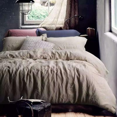 纯色素色四件套全棉纯棉简约亚麻质感酒店床上用品水洗棉床单被套