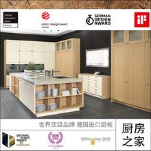 厨房之家|整体厨房德国进口厨柜橱柜定制定做实木贴皮木纹色KSP18