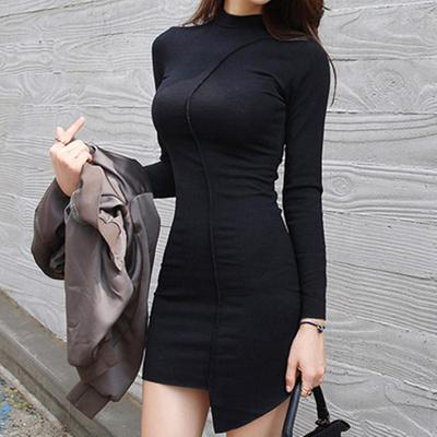韩国chic 秋冬打底裙女2017新款修身长袖不规则中长款包臀连衣裙