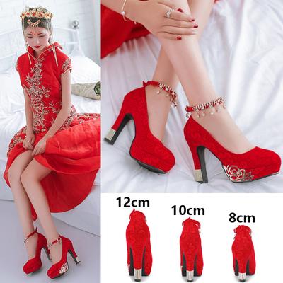 结婚鞋女2018新款冬季红色新娘鞋子高跟红鞋防水台中式婚纱鞋粗跟