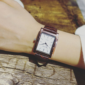 手表复古森系女学生韩版简约潮流ulzzang文艺棕色方形皮带石英男