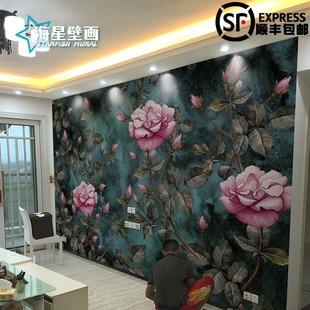 高端欧式奢华玫瑰墙纸卧室客厅影视墙电视背景墙壁纸墙布花卉壁画