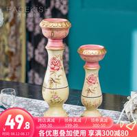 美式古典烛台创意家居陶瓷装饰摆件欧式玄关客厅酒柜摆设装饰烛台