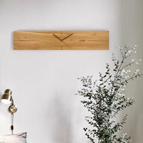 原木挂钟客厅卧室钟表北欧实木超静音长方形简约现代个性创意时钟