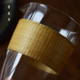 Bamboo threaded glass fair cup Handmade bamboo glass cup Bamboo threaded porcelain cup Cup tea tea