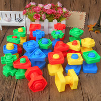 Intellectual development intellectual strength early childhood education toys kindergarten students plastic building blocks nut wire shape touch pairing