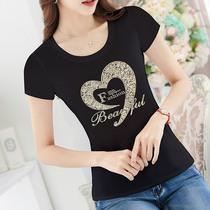 黑色T恤女短袖修身内搭上衣2019新款显瘦大码女装韩版体恤烫钻ins
