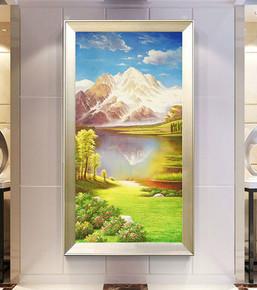 简欧式原创手绘风景竖版山水地中海装饰画走廊过道玄关聚宝盆油画