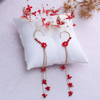 Bridal tiara red tassel ear hanging beautiful butterfly exaggerated earrings wedding dress accessories Chinese wedding jewelry