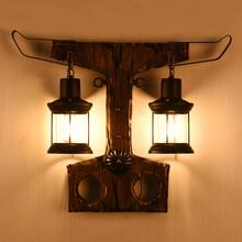 LOFT复古怀旧工业风美式个性服装店灯漫咖啡餐厅过道实木双头壁灯